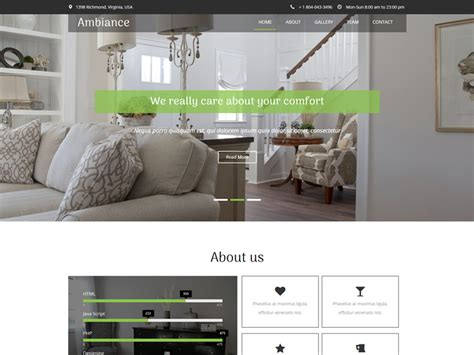 Ambiance Furniture by Ambiance Free Furniture Bootstrap Template Freemium