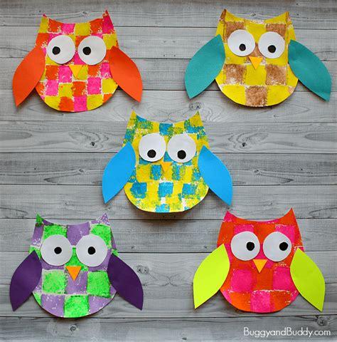 preschool printable activities owl craft sponge painted owl craft for kids with owl template