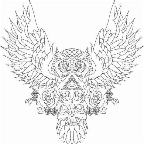 open winged owl and illuminati with skull tattoo design by