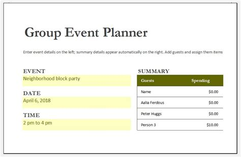 ms excel printable holiday party planner template excel