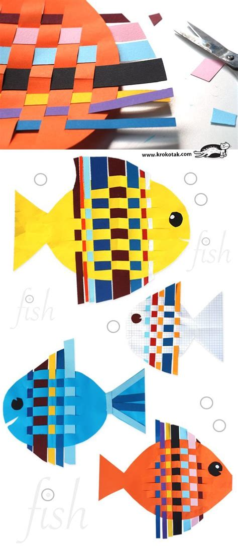 Paper Strips Crafts - fish from interwoven colored paper strips boys arts and
