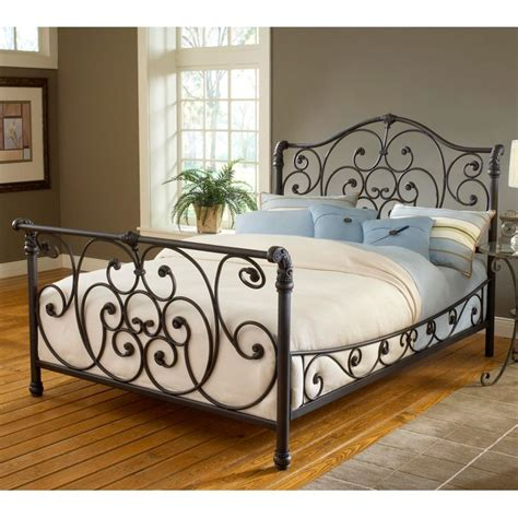 wrought iron bedroom furniture mandalay iron sleigh bed by hillsdale furniture wrought