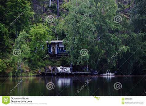 wooden boat house wooden boat house in the lake stock image image of