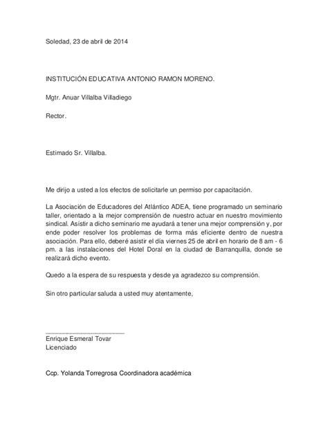 ejemplo carta solicitud de licencia carta permiso laboral