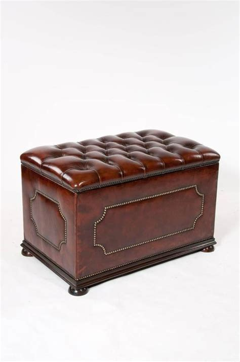 antique leather ottoman antique leather upholstered ottoman at 1stdibs
