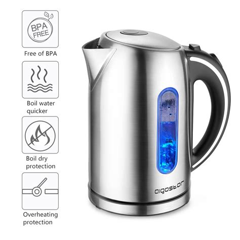 aigostar king electric kettle stainless steel  cordless tea kettle  hot water
