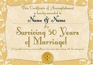 golden anniversary personalised certificate a3