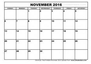 Calendar 2016 November November 2016 Calendar Printable Template Pdf With Holidays