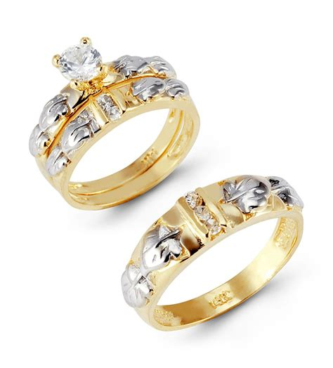 Wedding Rings With Gold by 14k Yellow White Gold Leaves Cz Wedding Ring Set