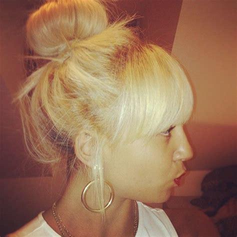 chineese bang bun blonde chinese bang and bun blonde hair don t care