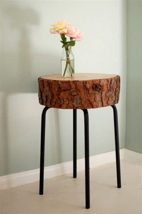 tree trunk bar top awesome table made from upcycled bar stool metal legs and a slice of