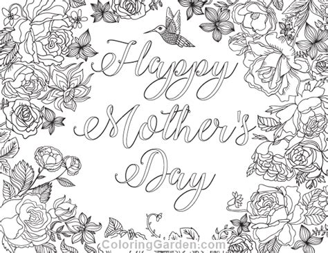 hard coloring pages for mother s day free printable happy mother s day adult coloring page