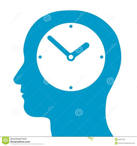 Heads For Time by Silhouette With A Clock Inside Royalty Free Stock