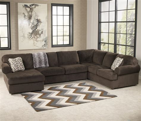 chocolate brown sectional sofa with chaise signature design by ashley jessa place chocolate casual
