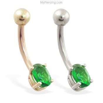 14k real gold belly ring with small emerald oval cz at