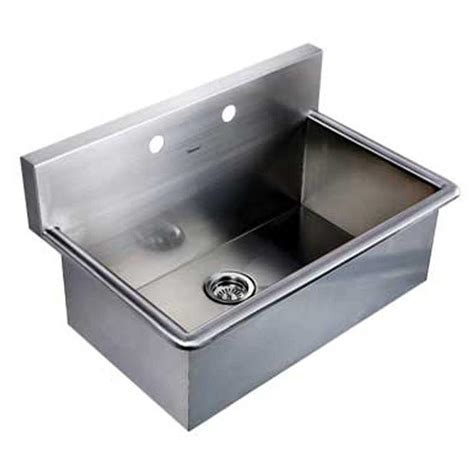 wall mount stainless steel 17 in 2 hole single basin noah s collection dual mount stainless steel 31 in 2 hole