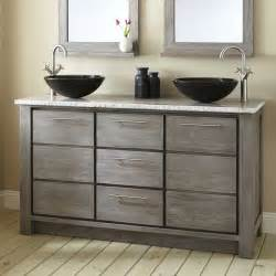 Where To Find Bathroom Vanities 60 Quot Venica Teak Vessel Sinks Vanity Gray Wash