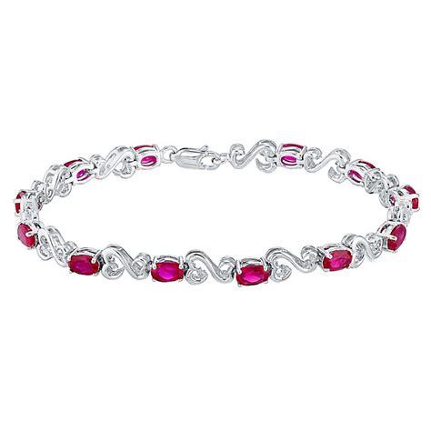 open hearts silver created ruby bracelet h samuel