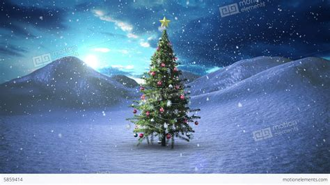 snow falling on christmas tree in snowy landscape stock
