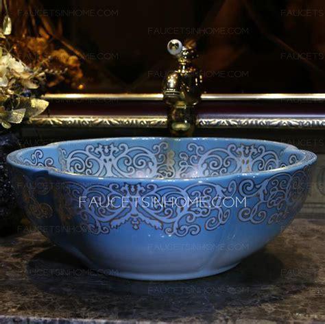 Blue Flower Shape Ceramic Vessel Sink Pattern Painting