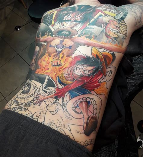 ace one piece back tattoo one back piece tattoo update finished luffy