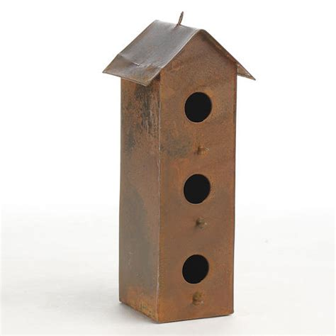 rusty metal three story birdhouse decorative accents