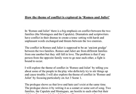 themes of romeo and juliet gcse how the theme of conflict is explored in romeo and juliet