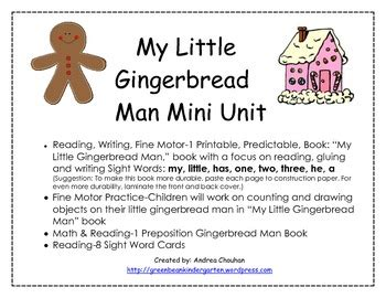 gingerbread man printable book for kindergarten gingerbread writing and reading kindergarten activities