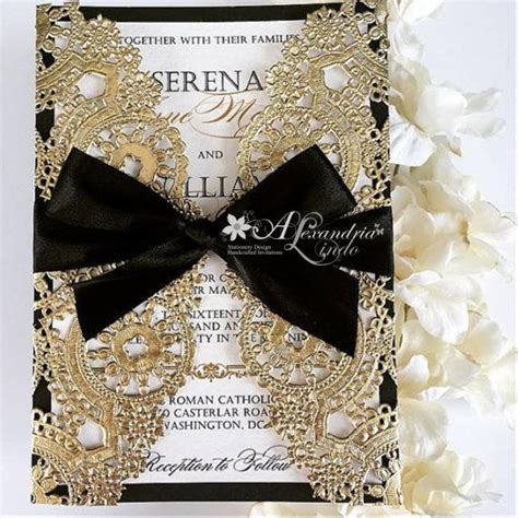 Wedding Invitations Black And Gold by Best 25 Gold Wedding Invitations Ideas On