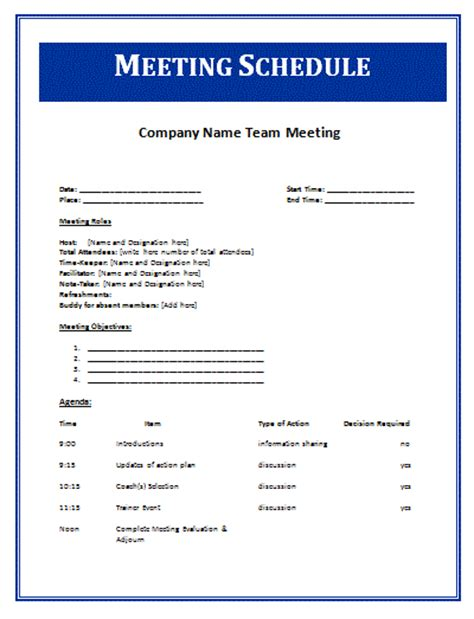 14 meeting itinerary templateagenda template sle