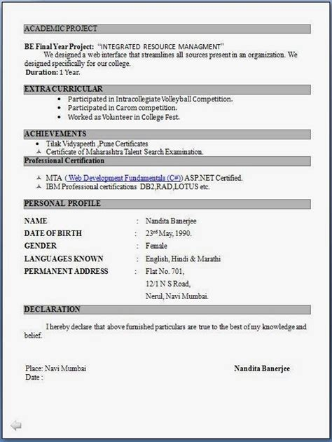 Best Resume In Pdf by Resume Format Pdf Download Free Best Resume Gallery