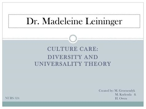 Cultural Care Diversity And Universality   ppt culture care diversity and universality theory