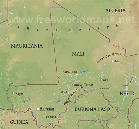 physical map of mali mali physik karte