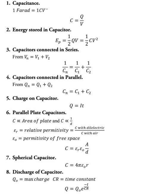 capacitor formulas physics a level physics formula sheet hubpages