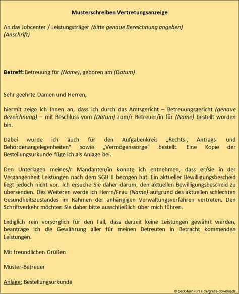 Anschreiben Jobcenter Nett Geht Anders Vertretungsanzeige An Jobcenter Beckakademie Fernkurse