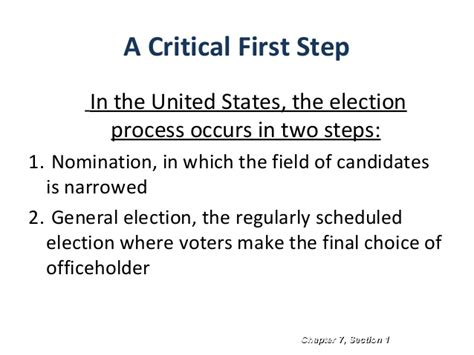 Chapter 7 Section 2 Elections by Ch7 Electoral Process