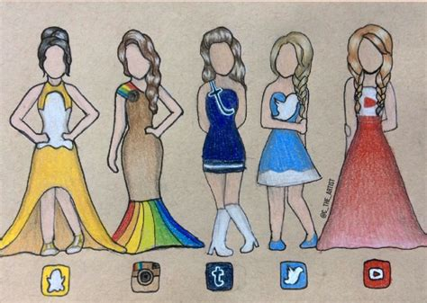 4 Drawing Media by For You From Me Social Media Dresses