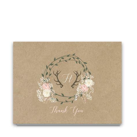 chic wedding thank you cards boho chic kraft wedding thank you cards deer antlers