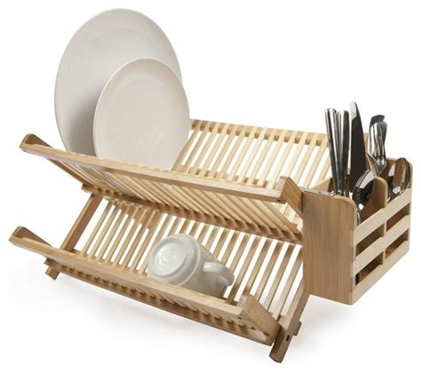 Rak Piring Stainless Rak Piring Minimalis Light Cherry bamboo dish rack with utensil holder modern utensil