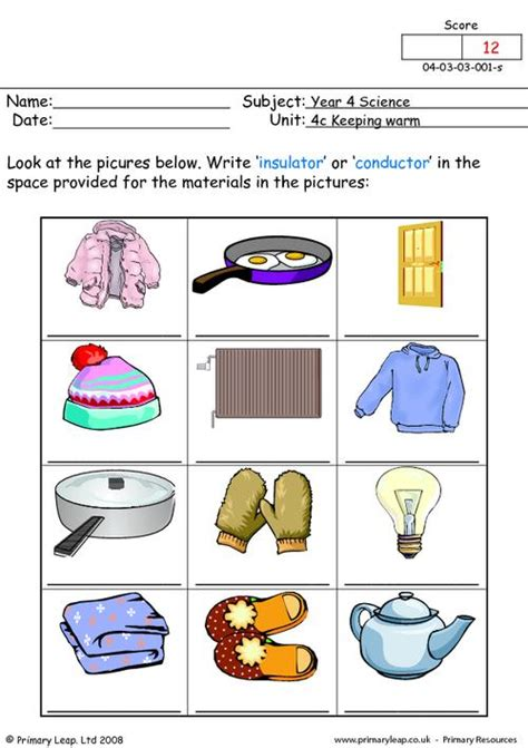 primary resources electrical conductors primaryleap co uk insulator or conductor 1 worksheet