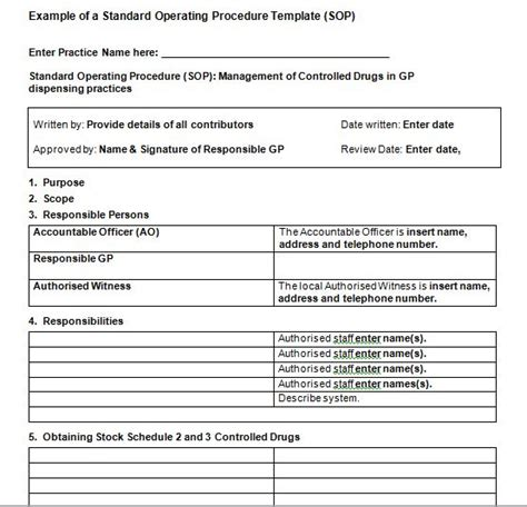 proc template 37 best free standard operating procedure sop templates