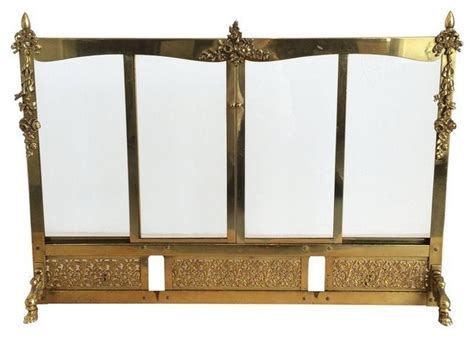 Brass Fireplace Screen With Glass Doors Brass Screen With Sling Glass Doors Fireplace Screens By Chairish