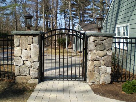 house fence and gate designs beautiful fence and gate to keep the dogs safe in the yard home design with dogs in