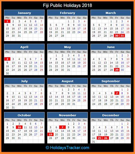 fiji holidays 2018 holidays tracker
