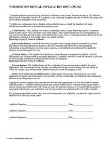 Car Rental Laws Washington State Washington Rental Application Disclosure Ez Landlord Forms