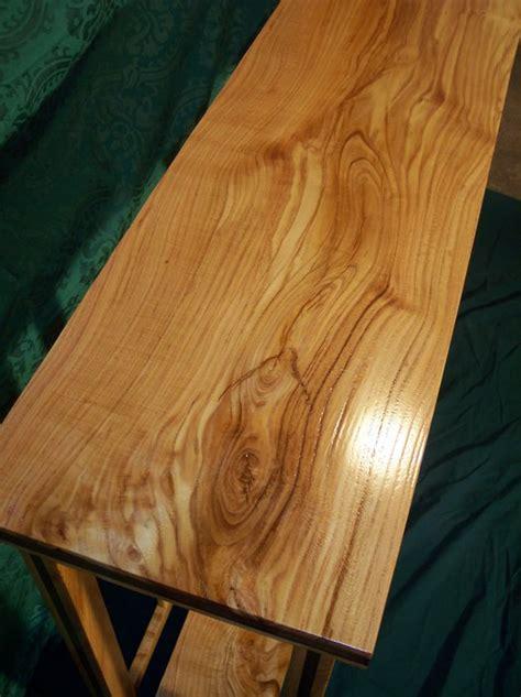 honey locust sofa table  walnut inlay