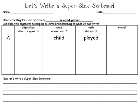 sentence template mrs samuelson s sw frogs sized sentence writing