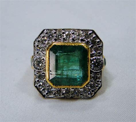emerald ring vintage antique 18 k solid gold