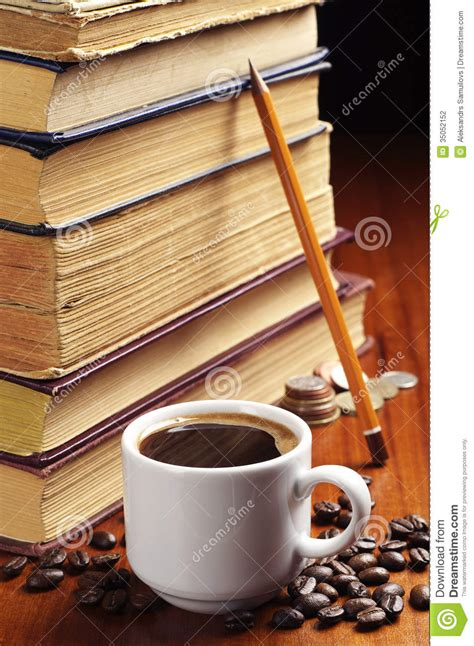 cup  coffee   books stock photography image