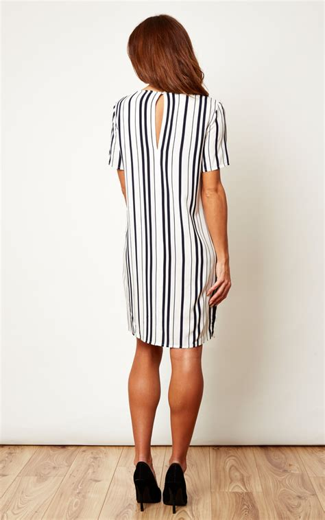 31176 Color White Grid Stripe S M L Blouse monochrome stripe tunic dress silkfred